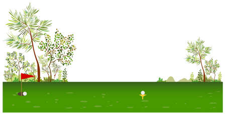 This illustration is a common cityscape. Golf course Vector