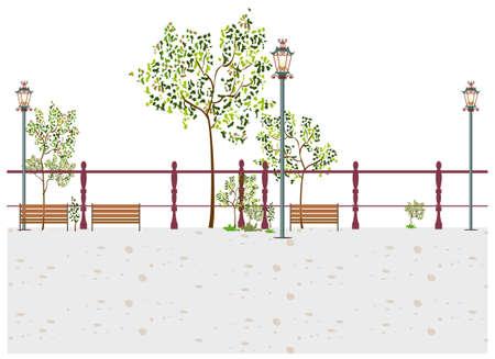 lamp post: Questa illustrazione � un paesaggio urbano comune. Panca e lampione