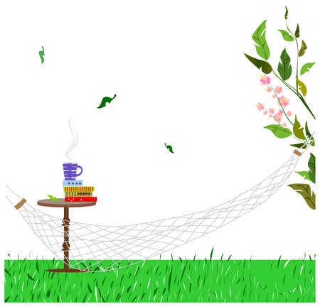 This illustration is a common cityscape. hammock in garden Stock Vector - 15903950