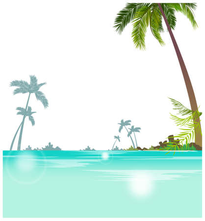 This illustration is a common cityscape. Seascape with palm trees Stock Vector - 15946704
