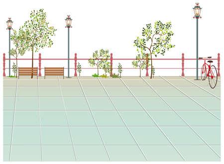 lamp post: Questa illustrazione � un paesaggio urbano comune. Bench e Lampione sul marciapiede