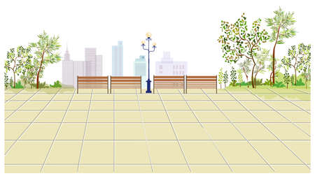 This illustration is a common cityscape. Bench and Lamp post on sidewalk Stock Vector - 15946082