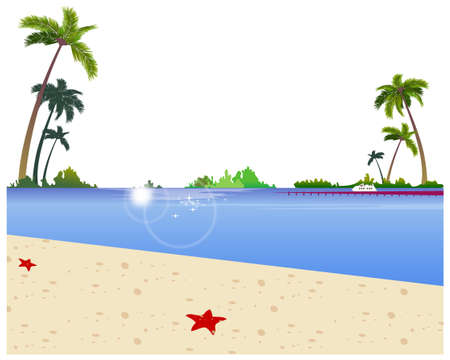This illustration is a common cityscape. Idyllic Beach with jetty Stock Vector - 15946906