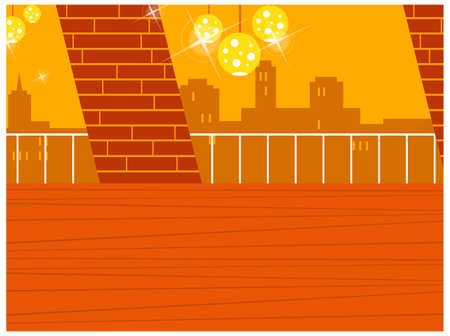 This illustration is a common cityscape. Disco ball in balcony with skyline in background Stock Vector - 15946160