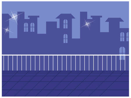 This illustration is a common cityscape. Skyline seen from balcony Stock Vector - 15910419