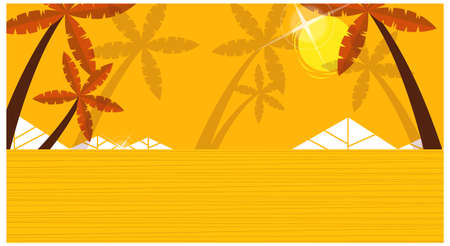 This illustration is a common cityscape. Yellow background with palm trees Stock Vector - 15904014