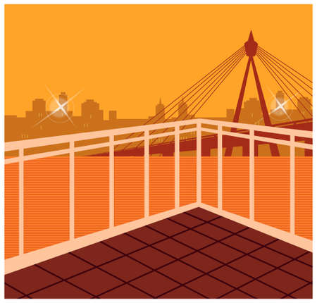 This illustration is a common cityscape. Skyline seen from balcony Stock Vector - 15910575