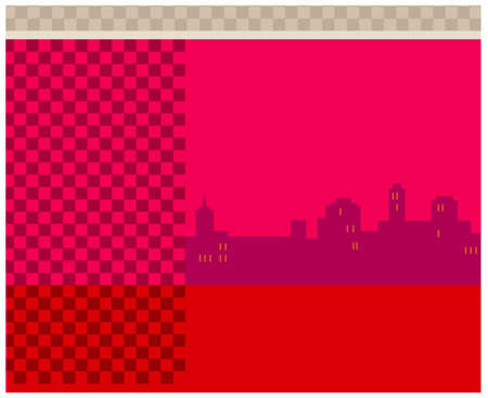 This illustration is a common cityscape. City skyline on red background Stock Vector - 15903128