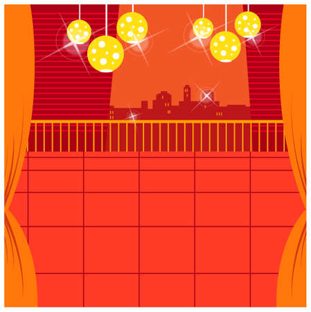 This illustration is a common cityscape. Lamp in balcony with skyline in background Stock Vector - 15947017