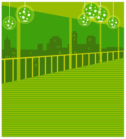 This illustration is a common cityscape. Skyline seen from window Stock Vector - 15903357