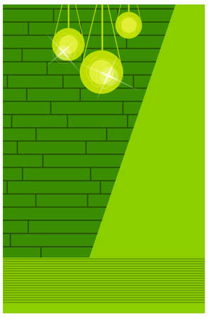 This illustration is a common cityscape. Wall with lamp Vector
