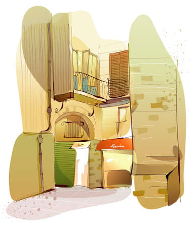 This illustration is a common cityscape. Residential structure Vector