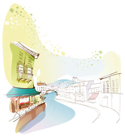 This illustration is a common cityscape. Venice city Stock Vector - 15947114