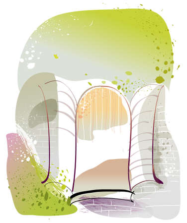 This illustration is a common cityscape. Opened window Stock Vector - 15947341