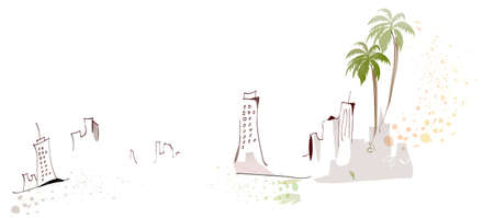 This illustration is a common cityscape. City skyline and sand castle Vector