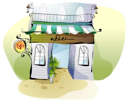 balcony view: This illustration is a common cityscape. Cafe exterior