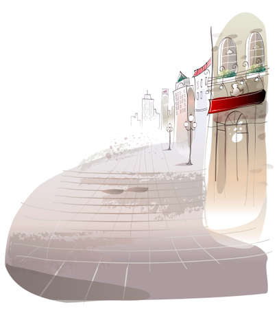 This illustration is a common cityscape. Sidewalk Stock Vector - 15947485