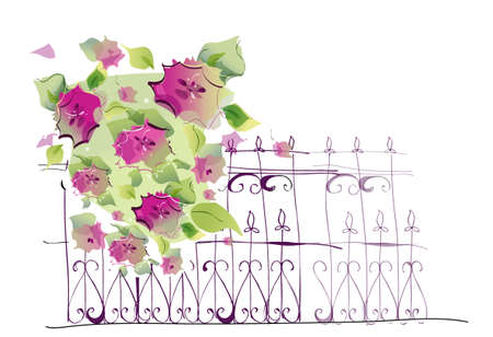 This illustration is a common cityscape. Flowers on rail Stock Vector - 15947207