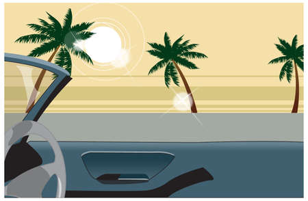 This illustration is a common cityscape. Side view of car interior Stock Vector - 15946926