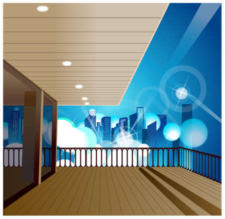 This illustration is a common cityscape. City skyline overlooks from balcony Stock Vector - 15947658