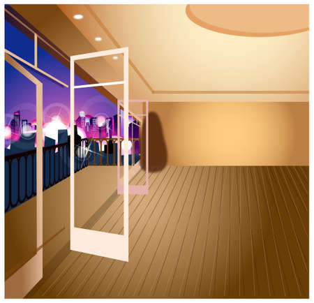 This illustration is a common cityscape. City skyline overlooks from balcony Vector