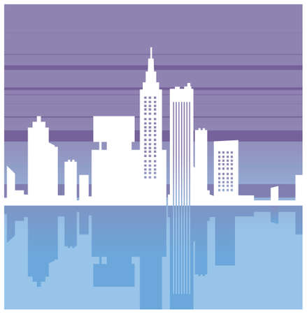 This illustration is a common cityscape. Cityscape reflection Stock Vector - 15903476