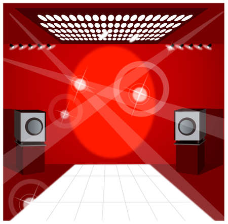 This illustration is a common cityscape. Speaker and lights  Stock Vector - 15947490