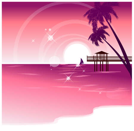 This illustration is a common cityscape. Idyllic beach with jetty Stock Vector - 15947338
