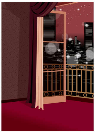 This illustration is a common cityscape. Balcony Stock Vector - 15947648