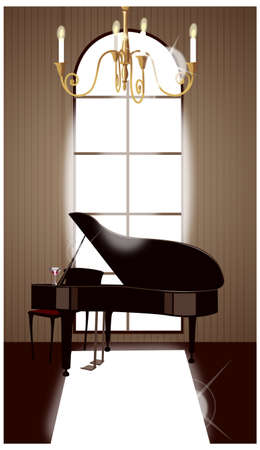 This illustration is a common cityscape. House interior with grand piano