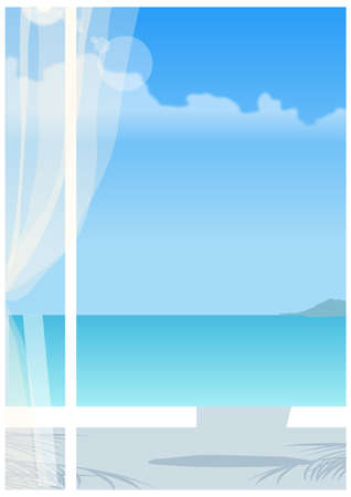 This illustration is a common cityscape. View of sea through window Vector