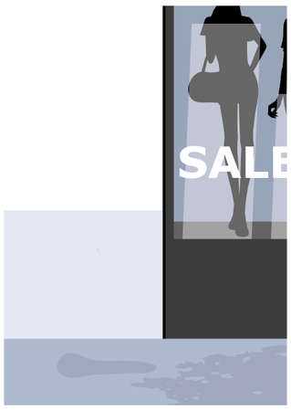 This illustration is a common cityscape. Mannequins in a shop window  Stock Vector - 15910379