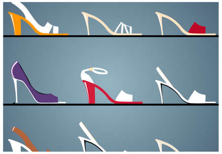 boutique display: This illustration is a common cityscape. Womens shoes in window display in boutique Illustration