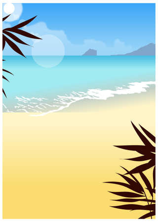 This illustration is a common cityscape. Wave washing onto beach Stock Vector - 15946549