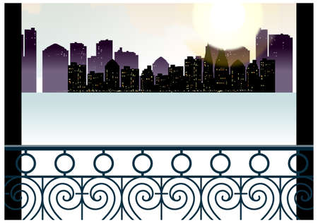 This illustration is a common cityscape. City skyline overlooks from balcony Stock Vector - 15947013