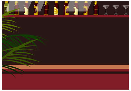 This illustration is a common cityscape. Liquor bottles  and wineglass at bar Stock Vector - 15903691