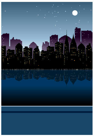 This illustration is a common cityscape. City skyline overlooks from balcony Stock Vector - 15946141