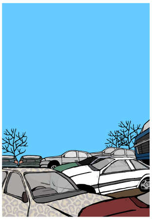 This illustration is a common cityscape. Stacked crushed cars being recycled Stock Vector - 15947339