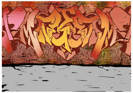 This illustration is a common cityscape. wall with graffiti on it Stock Vector - 15947735
