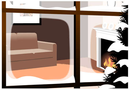 This illustration is a common cityscape. Living Room Inter From Closed Window Stock Vector - 15947272