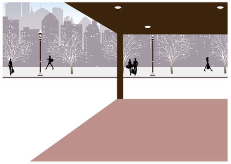 This illustration is a common cityscape. Winter in City Vector