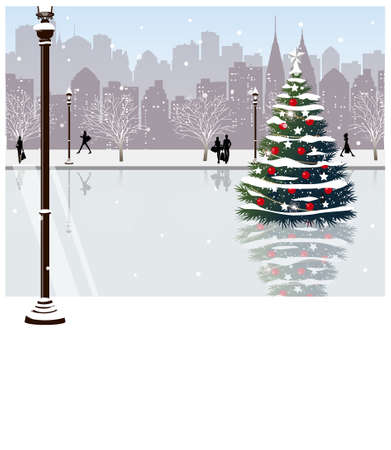 full day: This illustration is a common cityscape. Christmas tree on street