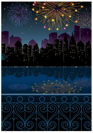 This illustration is a common cityscape. City Skyline and fireworks in sky Stock Vector - 15947707