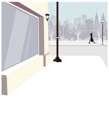 This illustration is a common cityscape. Sidewalk and  city skyline Stock Vector - 15947088