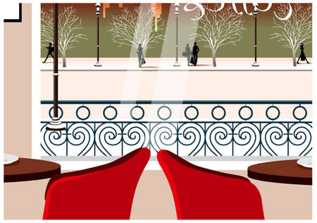 This illustration is a common cityscape. Table and chair in Resturant Vector