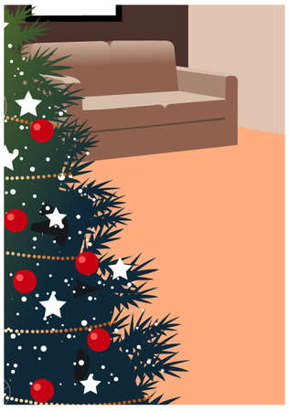This illustration is a common cityscape. Christmas tree in living room Stock Vector - 15946905