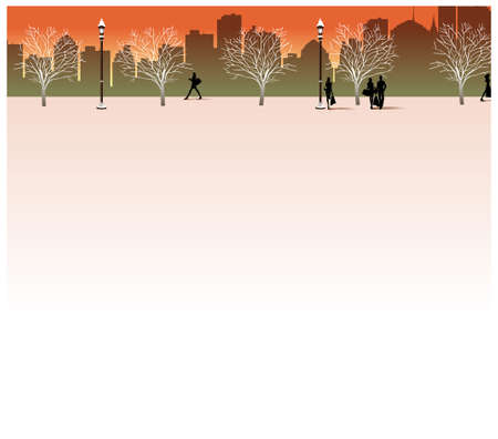 This illustration is a common cityscape. city skyline and people on street Stock Vector - 15946146
