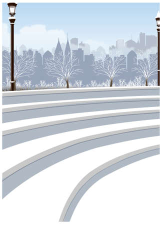 this illustration is the general nature of the winter landscape. steps in park Vector