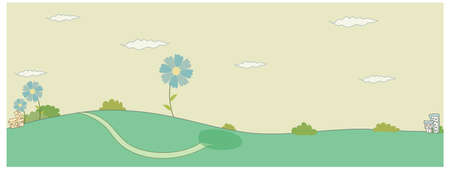 curved path: This illustration is a common cityscape. Green landscape with clouded sky