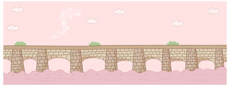 This illustration is a common cityscape. Bridge over river Stock Vector - 15946382